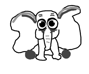 A mildly disturbing black and white Dumbo