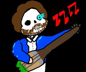 Bob Ross sans beard playing guitar