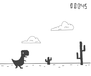 T-rex game dino and cactus