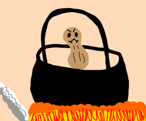 Angry peanut cooks in a cauldron