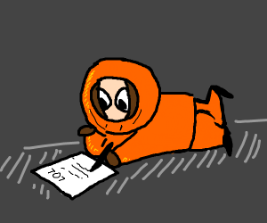 Kenny from southpark writing a note