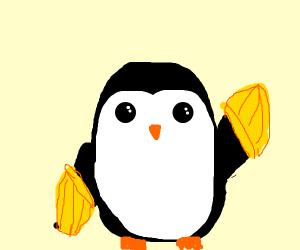 Penguin wearing Gloves