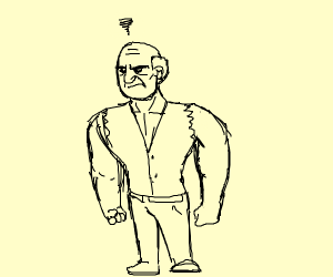 Angry old strong man