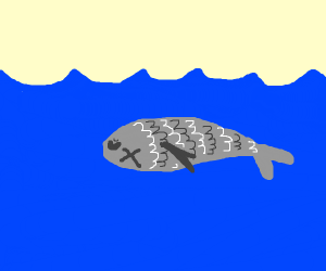 dead fish floating below the waves