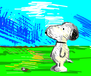 Snoopy is not happy about his golfing