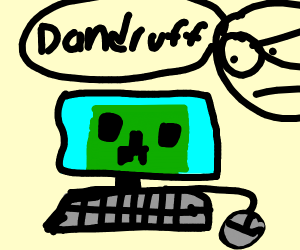 man with dandruf on a computer