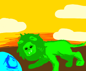 Green lion is gonna kill blue dude