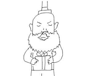 Bearded man is not enthusiastic about a gift