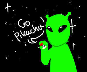 Alien trying to use a Pokéball