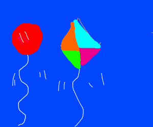 balloon and kite high in the sky