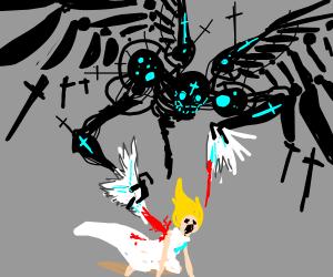 Sci-fi angel tears off wings