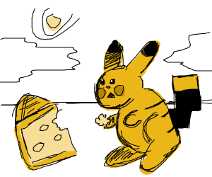 Pikachu eating cheese