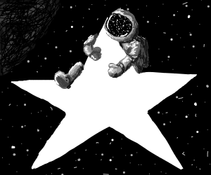 Astronaut clings to a star