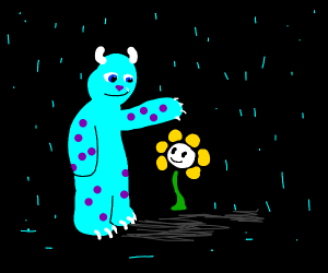 Sulley shelters Flowey from the rain