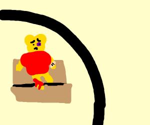 Beaten up pooh (sitting)
