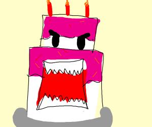 a very threatening cake