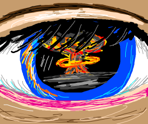 nuclear explosion reflection in eye