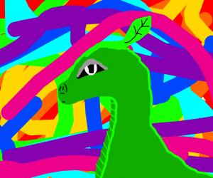 Green leaf dragon having a sassy LSD trip.