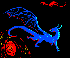 Blue dragon sees red dragon's glowing egg