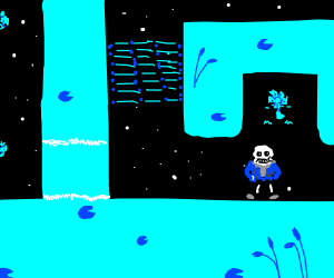 Sans in waterfall