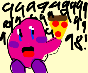 Kirby wins a pizza for getting a high score