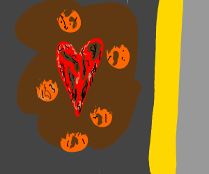 Moldy heart in mud surrounded by oranges