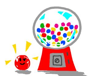 Shiny red bubblegum is proud
