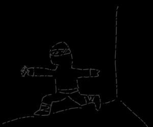 A ninja in a dark room