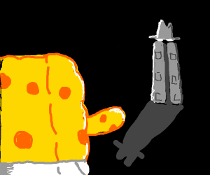 spongebob stares at a man in a suit
