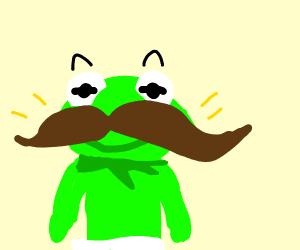 Baby Kermit with massive mustache