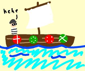 burglar steals viking boat