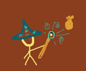 Wizard zaps coin bag