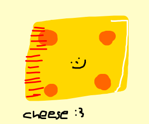 A yellow block of cheese