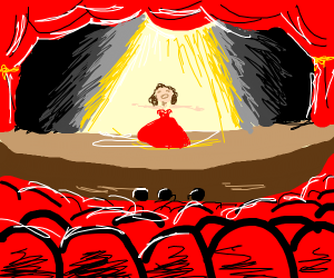 Girl in dress at singing audition on stage
