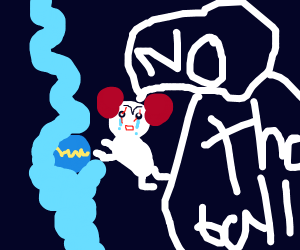 The IT clown crying over blue floating ball