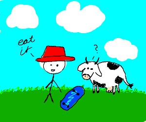 Farmer feeding cow skateboards
