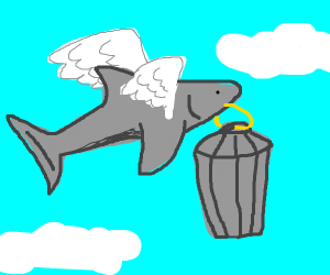 Flying shark carries away trash can