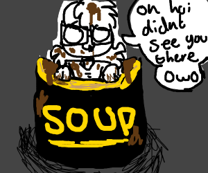owo girl comes out of soup can