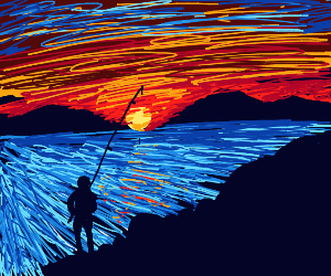 Fishing during the sunset
