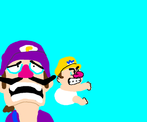 Wario baby must be watched by Waluigi