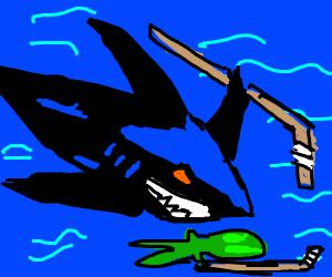 shark fights alien baby