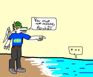 man talks to the ocean