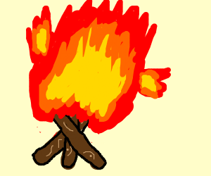 Fire which has been set on fire