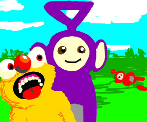 Yellmo and purple tellatubby