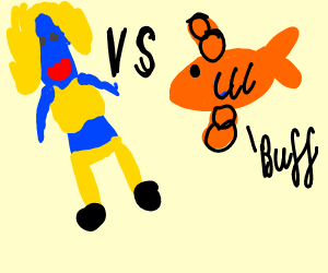 Blue woman VS strong goldfish with hair