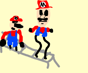 Marios coming off an assembly line