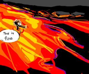 Sea horse takes lava bath