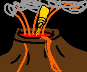 Mustard being squirted into a volcano