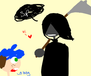 You are greeted by the Reaper & a baby heart