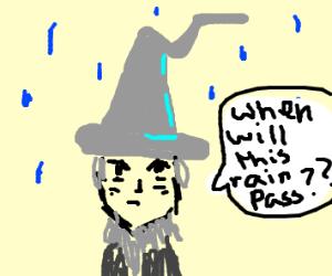 Gandalf in the rain